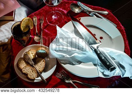 Macabre Murder Mystery Dinner Party Event With Bloody Knife