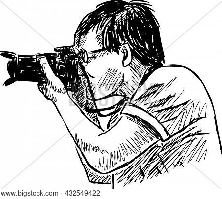 Freehand Drawing Of Person Photographing On His Camera