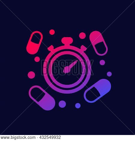 Medication Time Icon With Pills, Vector Design