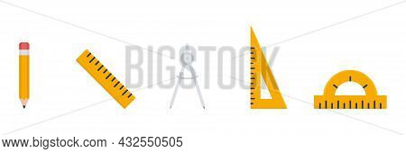 Education Math Flat Tools Set. Pencil, Ruler, Dividers Triangle Ruler And Protractor Icon. Stationer