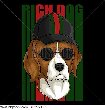 Beagle Rich Dog Vector Illustration For Your Company Or Brand
