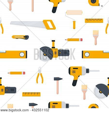 Tools Icon Seamless Pattern. Repair, Building And Work Instruments Big Collection In Flat Style. Vec