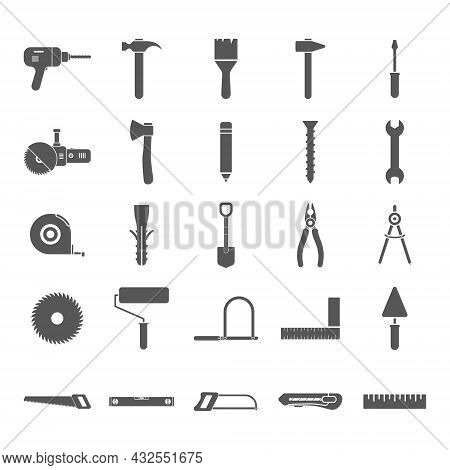 Repair, Building And Work Instruments Collection. Construction Tools Icons Large Set. Black Silhouet