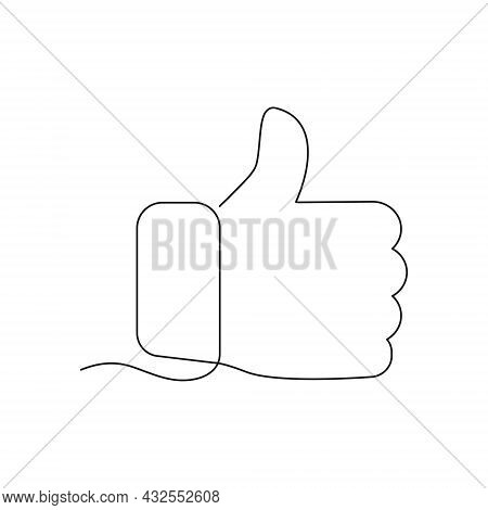 Continuous Line Drawing Thumb Up Icon. Like Linear Sign. Deal And Agree Outline Symbol. Arm Gesture.