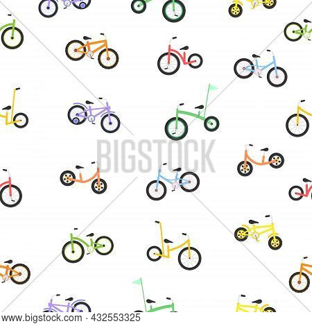 Cute Child Bicycles Seamless Pattern. Kids Colorful Bikes Texture. Sport Vehicle Concept. Vector Ill