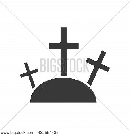 Tombstone Icon. Rip Grave Burial Symbol Black Silhouette. Religion And Halloween Concept. Vector Ill