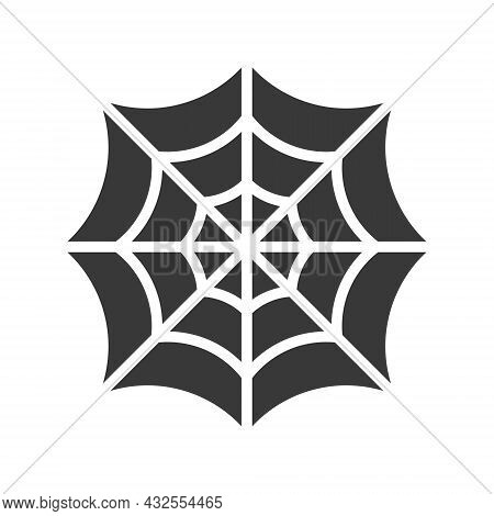 Cobweb Black Silhouette Shape. Spider Web Symbol. Halloween Party Horror Element. Vector Illustratio