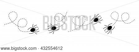 Spider On A Dotted Line Route Set. Spiders Black Silhouette Collection. Vector Isolated On White