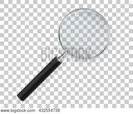 Magnifying Glass Isolated On Transparent Background. Vector Magnifier.