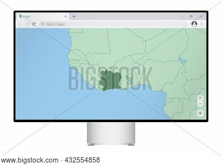 Computer Monitor With Map Of Ivory Coast In Browser, Search For The Country Of Ivory Coast On The We