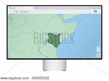 Computer Monitor With Map Of Kenya In Browser, Search For The Country Of Kenya On The Web Mapping Pr