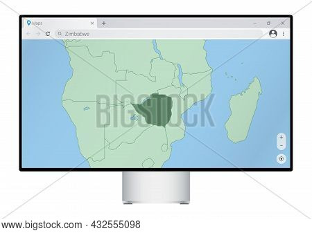Computer Monitor With Map Of Zimbabwe In Browser, Search For The Country Of Zimbabwe On The Web Mapp