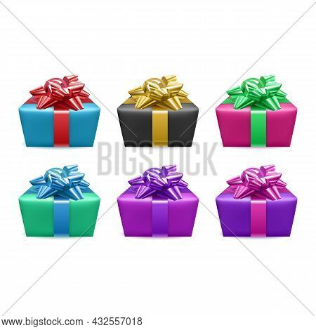 Set Of Gifts Box. Collection Realistic Gift Presents View Top