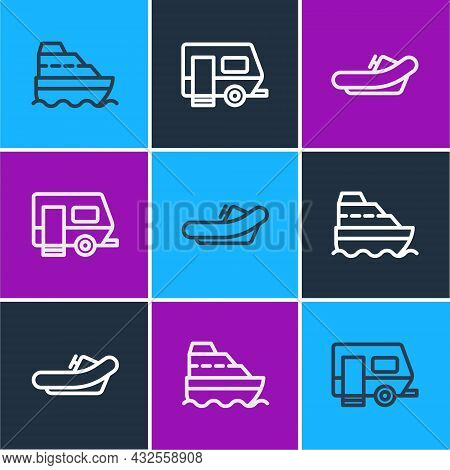 Set Line Cruise Ship, Rafting Boat And Rv Camping Trailer Icon. Vector