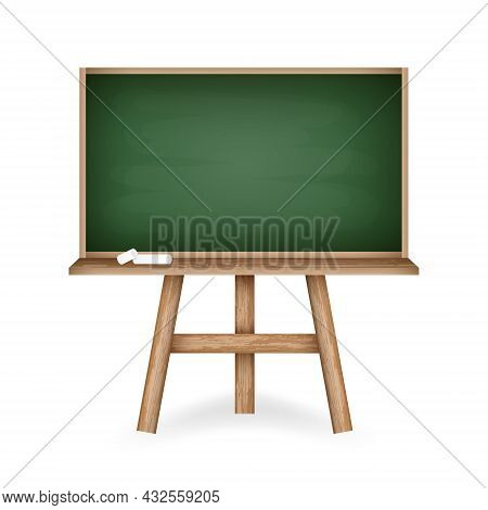Realistic Green Chalkboard With Wooden Frame Holder And Pieces Of Chalk. Rubbed Out Chalkboard With