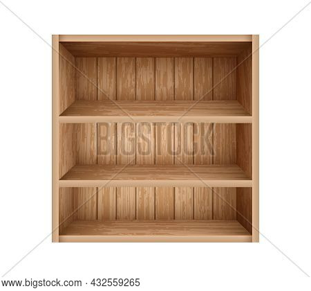 Realistic Bookshelf Made Of Wooden Boards. Empty Bookshelf Mockup Template. Old Wooden Shelves For L
