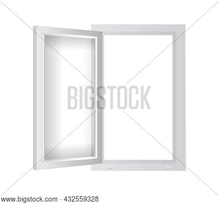 White Plastic Window With Open Casement. Pvc Single Window Mockup Template. Realistic Windowpane Fra