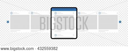 Kyiv, Ukraine - August 1, 2021: Tablet Pc With Facebook Carousel Posts. Social Network Ads Post For
