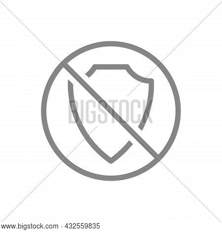 Protective Shield With Prohibition Sign Line Icon. Protection, Security Sign, Not Working