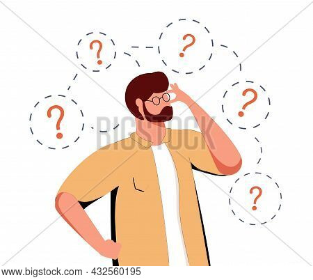 Thoughtful Characters With Question Marks Solving Problems Or Searching Solutions. Problem Solving A
