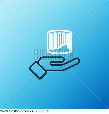 Line Ancient Column Icon Isolated On Blue Background. Colorful Outline Concept. Vector