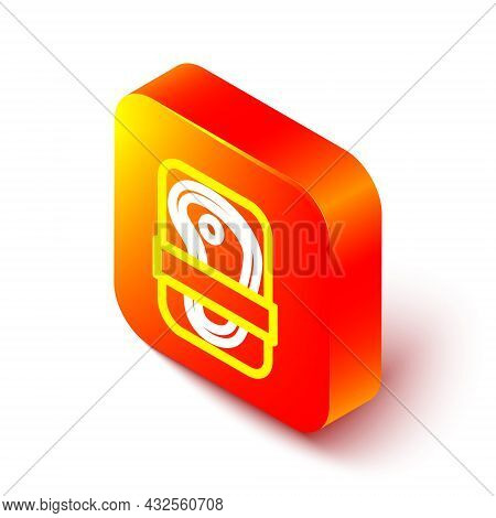 Isometric Line Meat Packaging Steak Icon Isolated On White Background. Fresh Meat Beef Steak In Plas