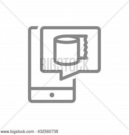 Paper Towels In Speech Buble And Smartphone Line Icon. Paper Roll, Napkins, Wipes For The Phone Scre