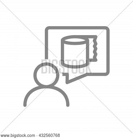 Paper Towels In Speech Buble And User Line Icon. Paper Roll, Use Of Paper, Personal Hygiene, Wipes F