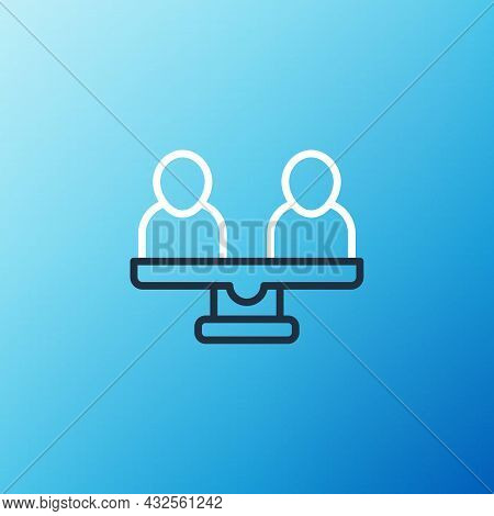 Line Gender Equality Icon Isolated On Blue Background. Equal Pay And Opportunity Business Concept. C