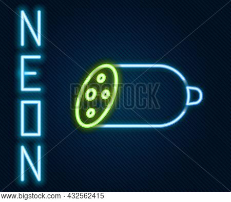 Glowing Neon Line Salami Sausage Icon Isolated On Black Background. Meat Delicatessen Product. Color