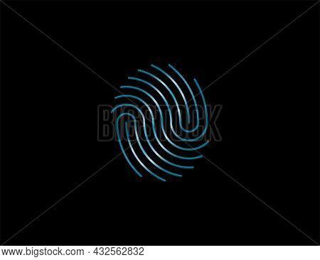 Fingerprint, Valid, Identify Icon. Vector Illustration. Flat Design.