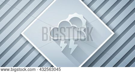 Paper Cut Storm Icon Isolated On Grey Background. Cloud With Lightning And Sun Sign. Weather Icon Of
