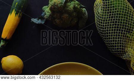Fresh Vegetables On Dark Table. Frame Of Fresh Veggies. Space For Text