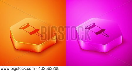 Isometric Push Pin Icon Isolated On Orange And Pink Background. Thumbtacks Sign. Hexagon Button. Vec