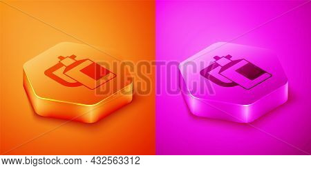 Isometric Garden Sprayer For Water, Fertilizer, Chemicals Icon Isolated On Orange And Pink Backgroun