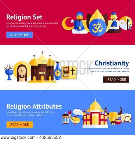 Religion Horizontal Banner Set With Christianity And Other Religious Attributes Isolated Vector Illu