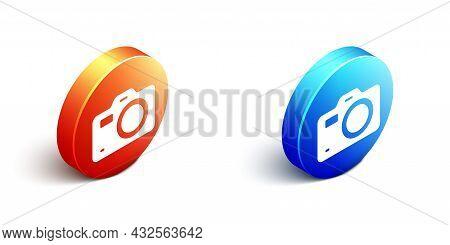 Isometric Photo Camera Icon Isolated On White Background. Foto Camera. Digital Photography. Orange A