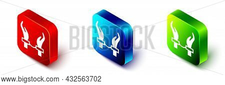 Isometric Handcuffs On Hands Of Criminal Man Icon Isolated On White Background. Arrested Man In Hand