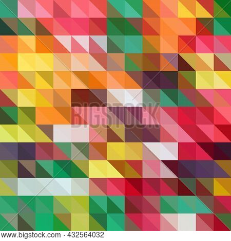 Multicolor Polygonal Illustration, Which Consist Of Triangles. Geometric Background In Origami Style