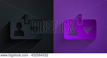 Paper Cut Identification Card Volunteer Icon Isolated On Black On Purple Background. Volunteer Id Ca