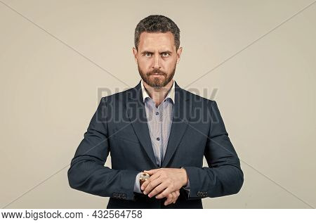 Unshaven Male Employer In Formalwear Or Office Manager, Confidence