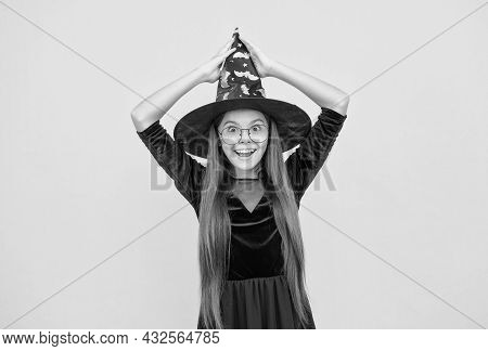 Cheerful Child Wear Witch Hat And Glasses Ready For Enchantment On Halloween, Happy Halloween