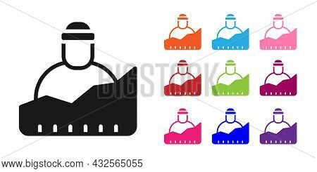 Black Growth Of Homeless Icon Isolated On White Background. Homelessness Problem. Set Icons Colorful