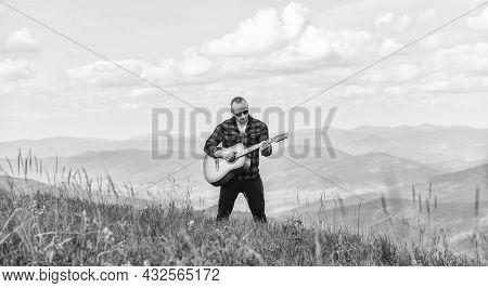 Hiker Enjoy Nature. Musician Hiker Find Inspiration In Mountains. Keep Calm And Play Guitar. Man Hik