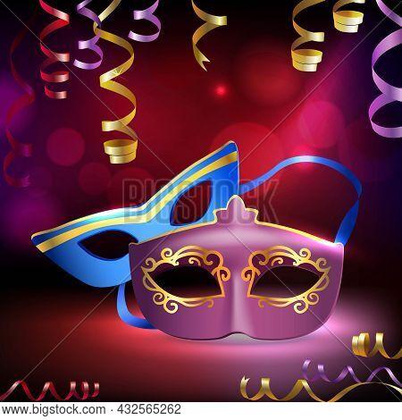 Traditional Venetian Carnival Mardi Gras Realistic 3d Masks On Holiday Background Vector Illustratio