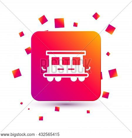 White Passenger Train Cars Toy Icon Isolated On White Background. Railway Carriage. Square Color But