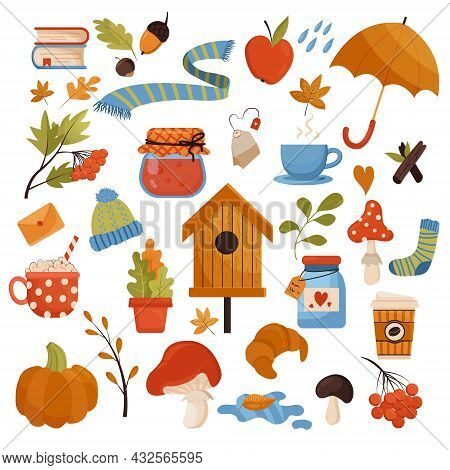 Vector Autumn Set In A Flat Style. Autumn Collection Of Stickers. Set Of Cute Autumn Cartoon Element