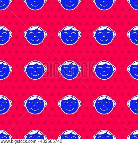 Blue Happy Little Boy Head Icon Isolated Seamless Pattern On Red Background. Face Of Baby Boy. Vecto