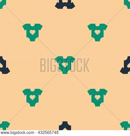 Green And Black Baby Clothes Icon Isolated Seamless Pattern On Beige Background. Baby Clothing For B