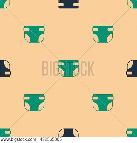 Green And Black Baby Absorbent Diaper Icon Isolated Seamless Pattern On Beige Background. Vector